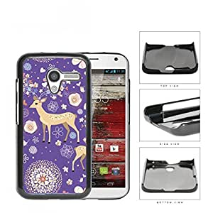 Reindeer With Flower And Heart Horns Purple Hard Plastic Snap On Cell Phone Case Motorola Moto X