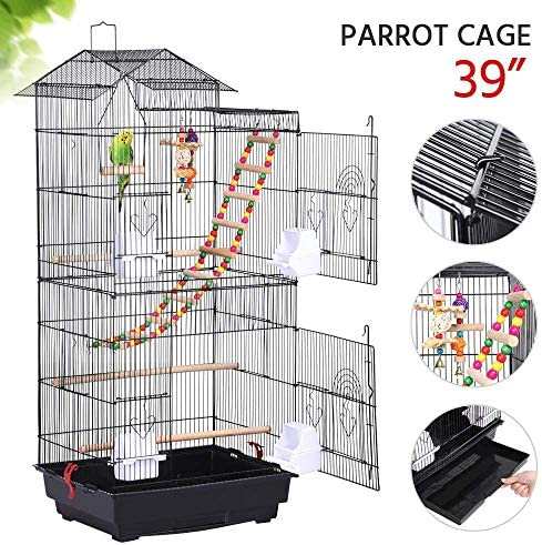 L18x W14x H39 Large Parrot Cage Metal Bird Cage Canary Cockatiel w Toys Black