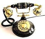 Artshai black antique finish landline telephone with rotary dial
