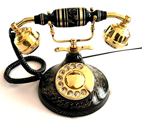 Artshai black antique finish landline telephone with rotary dial by Artshai