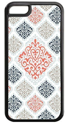 01-Large and Small Damasks-Pattern- Case for the APPLE IPHONE 5, ipod touch4-NOT THE ipod touch4!!!-Hard Black Plastic Outer Case with Tough Black Rubber Lining