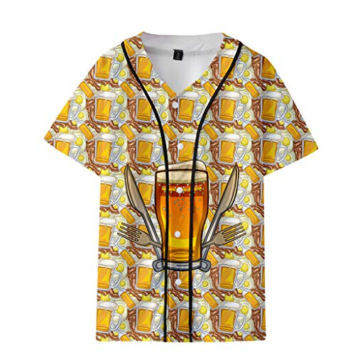 MmNote Hawaiian Fashion Slim Loose Breathable Cheers for The Beer Lovers Print Short Sleeve T-Shirt(M-XXXXL) Gold