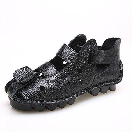 Xing Lin Sandalias De Mujer Nuevo Fondo Blando, Fondo Plano Los Zapatos De Cuero, Sandalias De Mujer, Sandalias, Sandalias Hechas A Mano black