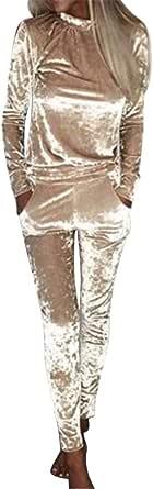 FSSE Womens Regular Fit Casual Sport Velvet Sweatshirt+Pants Tracksuits Outfits