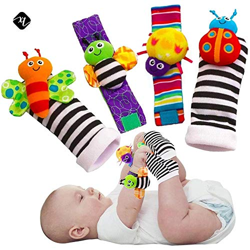 Bonheur Foot Finders & Wrist Rattles for Infants Developmental Texture Toys for Babies Cute Animal Soft Baby Socks Toys Wrist Rattles and Foot