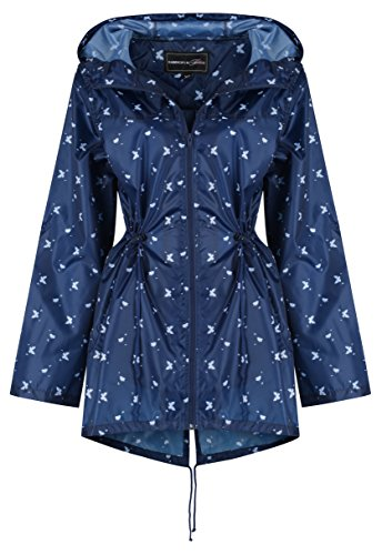 Abrigo impermeable Butterfly para Navy Raindrops mujer Finesse by Print xwqPCP