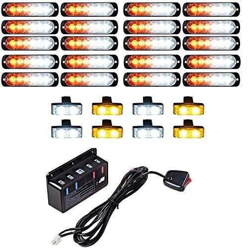 (20PCS Ultra Slim 6-LED 18W Emergency Hazard Caution Surface Mount Strobe Light & 8pcs Car Truck Grille Deck Dash Flashing Light - Amber White)