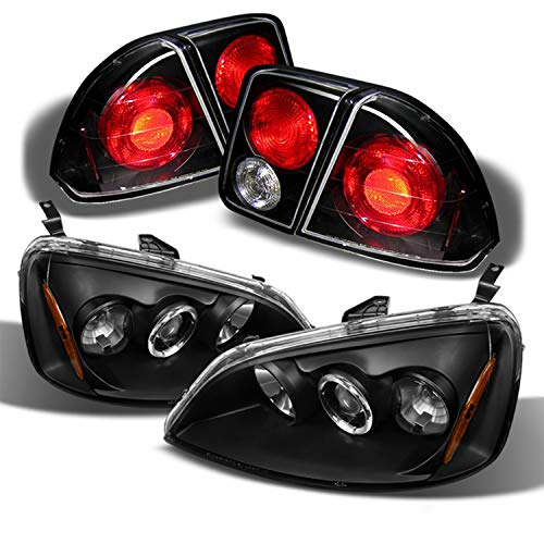 For 01-03 Honda Civic Sedan Black Bezel Halo Ring Projector Headlights + Tail Brake Lamp W/Trunk Piece