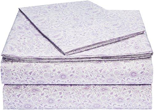 AmazonBasics Light-Weight Microfiber Sheet Set - Twin Extra-Long, Lavender Paisley