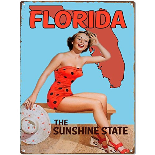 Florida Beach Pinup Babe Girl Metal Sign Vintage Style 12 x 16