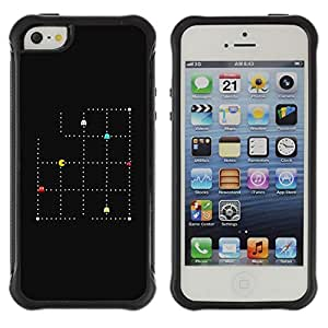 All-Round Hybrid Rubber Case Hard Cover Protective Accessory Compatible with Apple iPhone 5 & 5S - minimalist pc game retro hipster