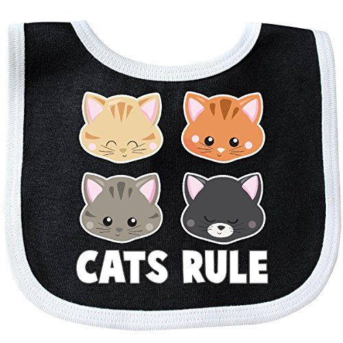 Inktastic - Cats Rule with Cat Heads Baby Bib - Cat Bib Black