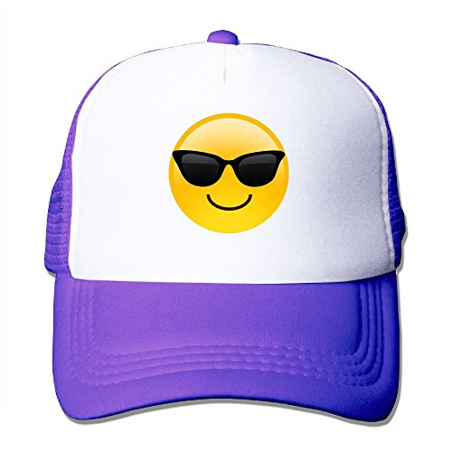ZhiqianDF Mens Smiling Face With Sunglasses Cool Emoji Classic Golf Purple Mesh Hat Adjustable - Sunglasses Yeti