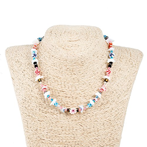 Flower And Bead Necklace (Puka Chip Shell and Glass Beaded Necklace with Sealife and Flower Beads)