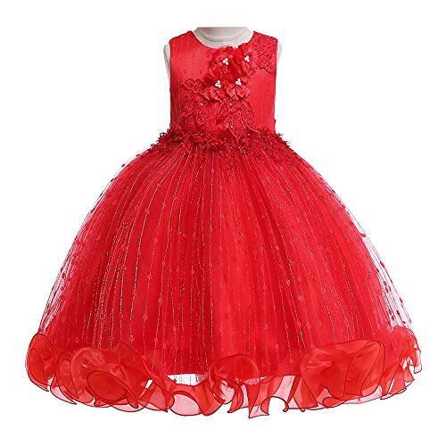 Child Embroidered Dress - LIVFME Little Girls Party Dresses Red Kids Dress Princess Embroidered Pageant Ball Gowns Special Occasion Dresses 4t 5t M09C130
