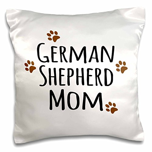 3dRose pc_154123_1 German Shepherd Dog Mom-Alsatian-Doggie by Breed-Brown Muddy Paw Prints-Doggy Lover Mama-Pillow Case, 16 by 16