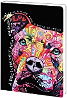 Tree-Free Greetings Recycled Soft Cover Journal, Ruled, 5.5 x 7.5 Inches, 160 Pages, Loves You More Themed Dean Russo Dog Art (89210)