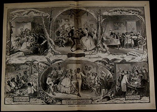 Home Scenes Dancing Quilting Husking Corn nice 1861 great old print for display ()
