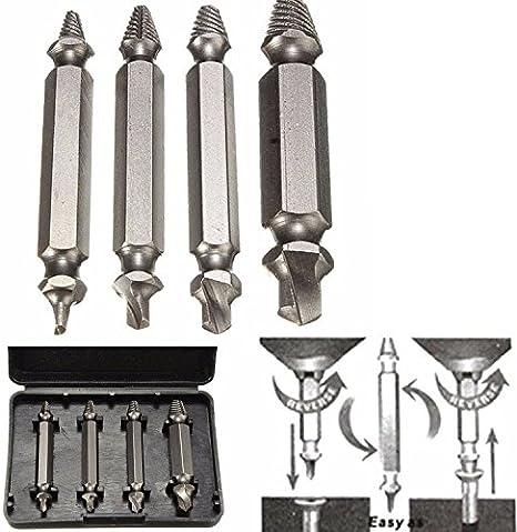 Kit de 4extractores de broches, tornillos, tornillos dañados y de pernos; juego de herramientas para quitar tornillos, pernos y puntas de brocas