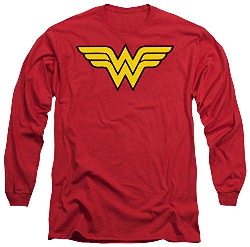 Wonder Woman Logo Adult Long-Sleeve T-Shirt, Medium (Sleeve Woman Long Wonder)