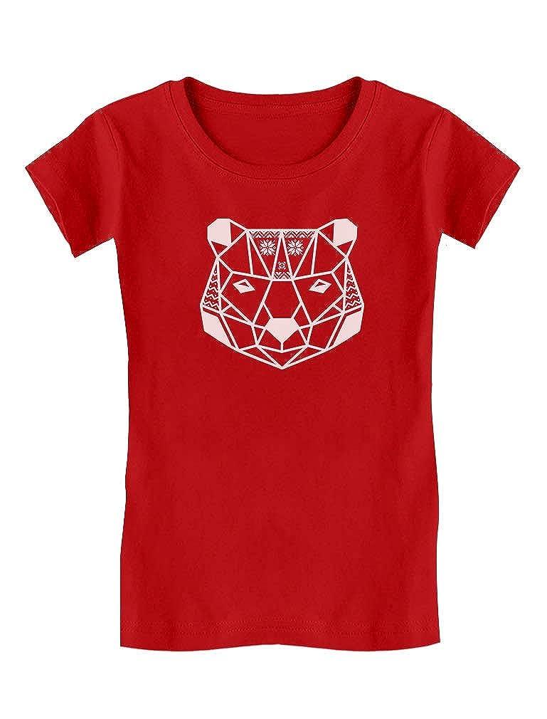 Tstars - Christmas Polar Bear Geometric Snowflakes Girls' Fitted Kids T-Shirt GaMPZhMgwm
