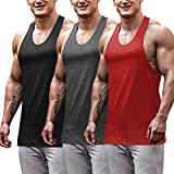 COOFANDY Men's 3 Pack Gym Tank Tops Y-Back Workout