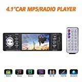 "Bluetooth Car Stereo FM Radio In Dash Masione 4.1"" HD TFT Screen MP3 Audio Video Player Single Din FM/SD/USB/AUX-in/Hands-Free Calls 12V Support Rear View Camera Input+Wireless Remote"