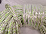 1'' X 100 Feet 12 carrier-24 strand Polyester Arborist Bull Rope, White/Green