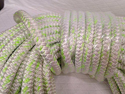 1'' X 100 Feet 12 carrier-24 strand Polyester Arborist Bull Rope, White/Green by Blue Ox Rope