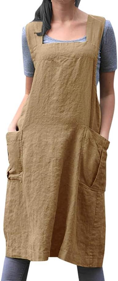 Slyar Vestido Mujer Casual Primavera Verano Ofertas,Algodón y Lino Mujer Vestidos Casual con Bolsillo Simple Vestidos Vestidos de Fiesta Mujer Tallas Grandes: Amazon.es: Ropa y accesorios