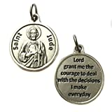 Saint St Jude Silver Tone Italian Medal Pendant Charm Catholic Religious Made in Italy 3/4 Inch