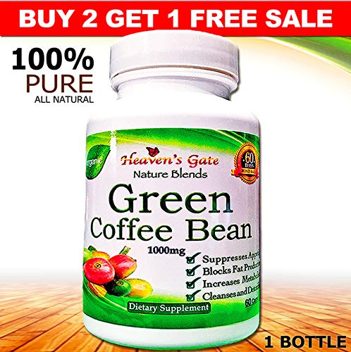 Green Coffee Bean Extract - All Natural Weight Loss Supplement - 1000 mg - 60 Capsules 1 Month Supply - 100% Pure - Appetite Suppressant Diet Pills - Detox - Boosts Energy & Metabolism (2)