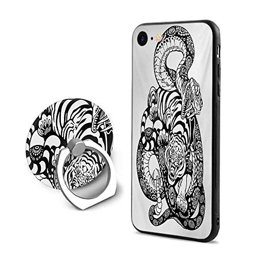 Tiger iPhone 7/iPhone 8 Cases,Tattoo Style Scene of Two Animals Struggling Long Snake with Sublime Large Cat Black and White,Design Mobile Phone Shell Ring Bracket