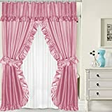 Pink Double Swag Shower Curtain TAKESHOWER Rose Lauren Double Swag PEVA Fabric Shower Curtain w/ Tie Backs & Liner 70