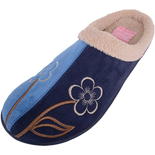 Absolute Footwear Womens Faux Suede Mules/Slippers/Indoor Shoes With Floral Design Blue