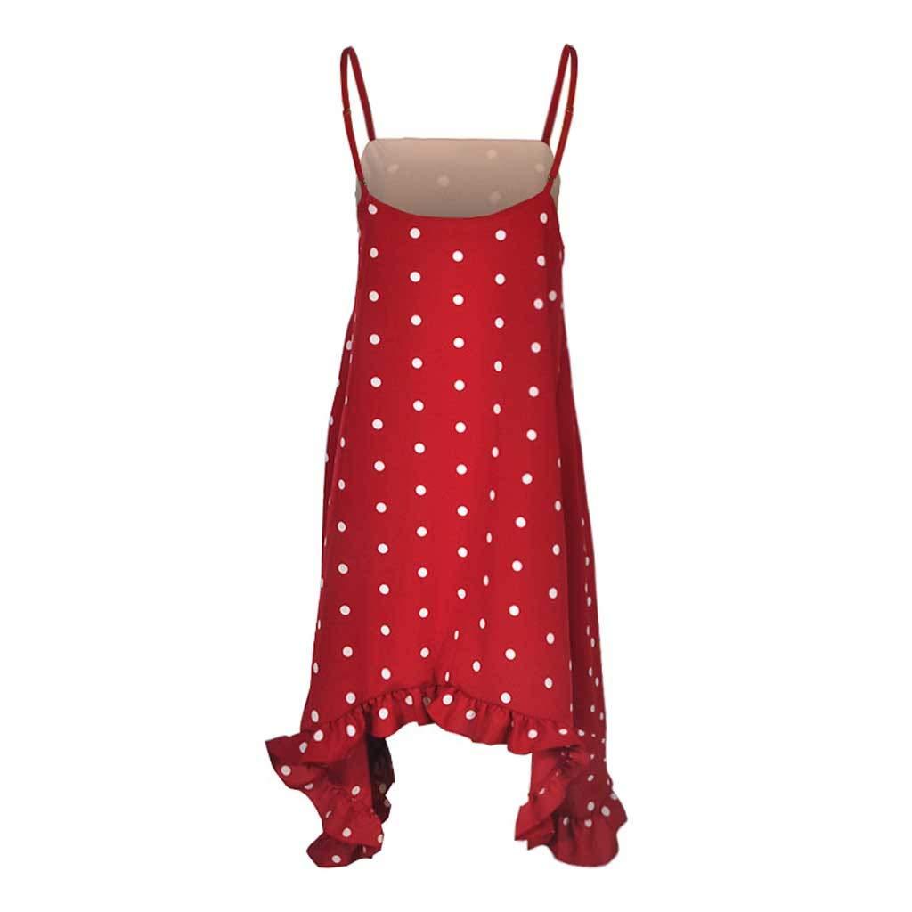 Hemlock Women Polka Dot Dress Spaghetti Strap Dress Irregularity Mini Dress Summer Holiday Beach Midi Dress