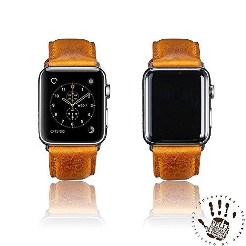 BORAZI Premium Quality Italian Leather Watch Strap for iWatch Series 1, 2 & 3 (Napoli Yellow 42mm)