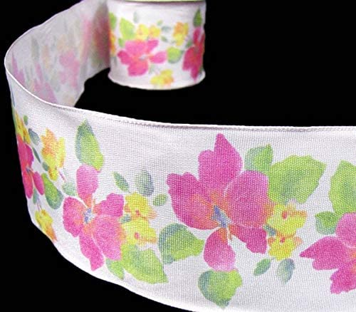 "3 Yards Pink Flowers and Greenery White Wired Ribbon 2 1//2/""W 3,6"