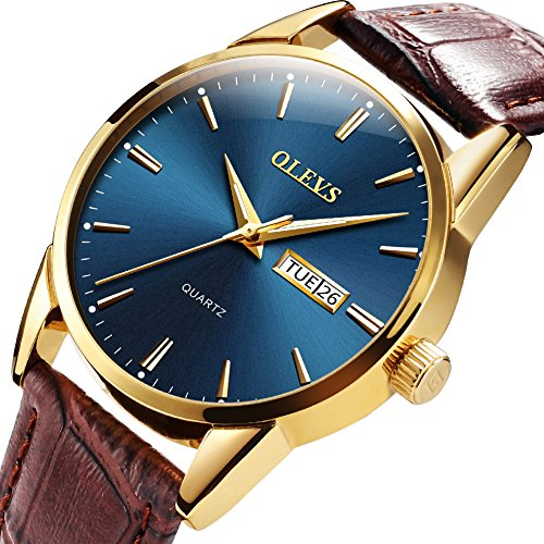 OLEVS Mens Watches Waterproof Luminous Luxury Business Casual Dress Blue Face Big Dial Gold Bezel Analog Quartz Wrist Watch with Day and Date with Male Retro Leather Band Brown Christmas Gift On Sale