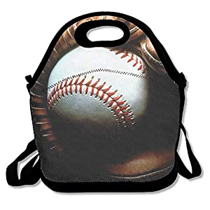 Neoprene Lunch Tote - Baseball Wallpaper Waterproof Reusable Lunch Tote Bag For Men Women Adults Kids Toddler Nurses With Adjustable Shoulder Strap - Best Travel Bag