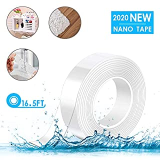 Nano Tape Roll Double Sided Adhesive Tape Heavy Duty 16.5 Foot Transparent Removable Traceless Washable Adhesive Sticky Stick Grip Gel Reusable Nano Gel Pads for Paste Photos Poster, Fix Carpet Mats