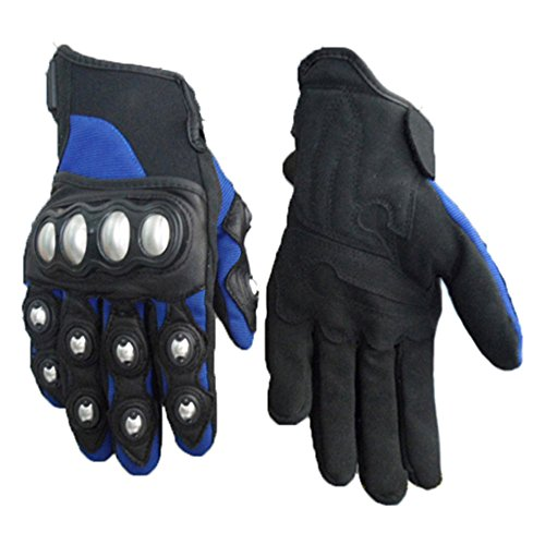 Wotefusi Motorcycle New Men Adult Cool Race Racing Ride Riding Cycling Outdoor Sport Protective Mesh Full Finger Hand Gloves Pair Blue Size M
