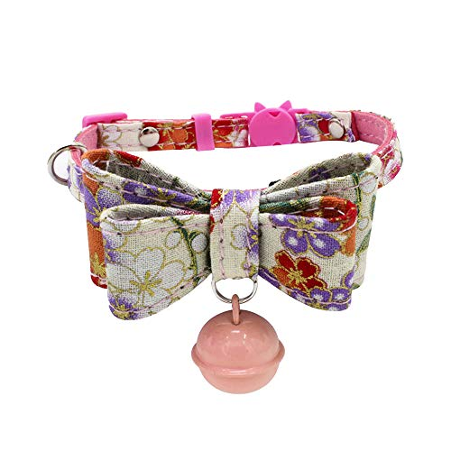 (Hpapadks Safety Buckle Cat Collar, Printed Collar with Bell Dog Puppy Pet Cat Collars Detachable Bow Hanging Bell)