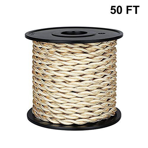 [UL Listed] 50ft Twisted Cloth Covered Wire, Carry360 Antique Industrial Electronic Wire, 18-Gauge 2-Conductor Vintage Style Fabric Lamp/Pendant Cloth Cord Cable (Light Golden)