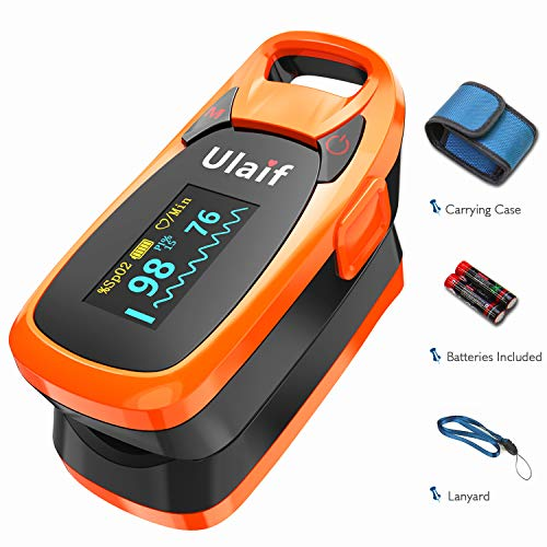 (ULAIF Fingertip Pulse Oximeter with OLED Display Portable Oximetry Blood Oxygen Saturation Monitor SpO2 Finger Pulse Oximeter Readings with Carrying Case Lanyard and Batteries)