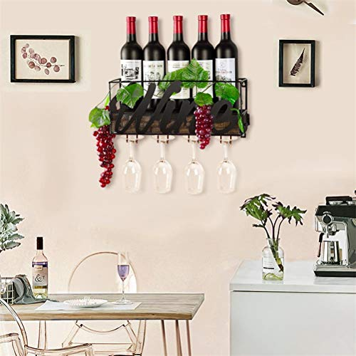CSmile Iron Wine Rack Wall Mounted Black Wine Glass Rack Wine Cork Holder Gifts Come with Wine Opener by CSmile (Image #5)