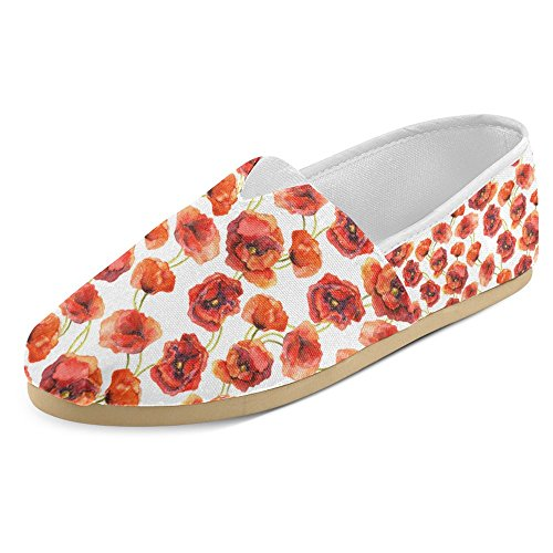 Mocassini Da Donna Di Interestprint Classico Su Tela Casual Slip On Scarpe Moda Scarpe Da Ginnastica Mary Jane Flats Papavero