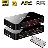 4K Ultra HD HDMI Switch with IR Remote Control, 4 Input 1 Output Port 4K X 2K HDMI Switcher with Audio Optical TOSLINK, 3.5mm Audio Port Support ARC, 3D, 1080P, 4Kx2K @60Hz for HDTV