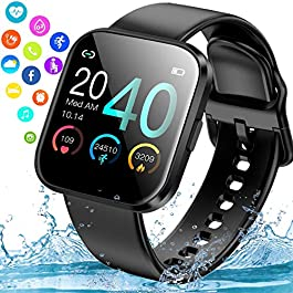 Smart Watch, Ip67 Waterproof Smartwatch for Android Phones, Sport Fitness Watch with Blood Pressure Heart Rate Monitor…