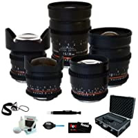 Rokinon Full Cine 5 Lens Kit – 35mm + 24mm + 14mm + 85mm + 8mm for Canon EF/Black Magic + Protective Photography Hard Case + Accessory Kit